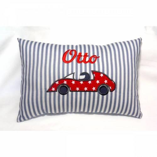 personalisiertes Kissen mit Auto Namenskissen für Jungen cooles Kissen mit Rennwagen Rennauto Geschenk zum Geburtstag zur Einschulung Kommunion