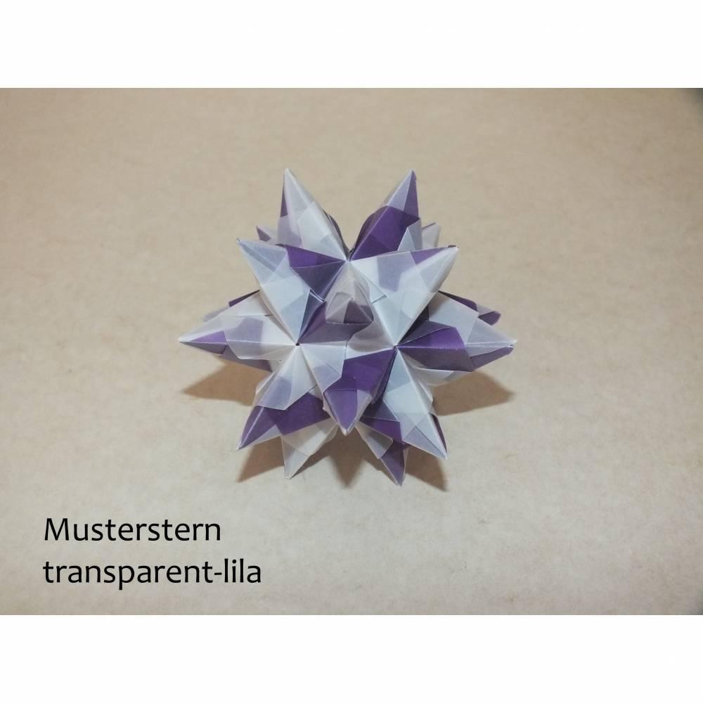 Origami Bastelset Bascetta 10 Sterne transparent/lila 5,0 cm x 5,0 cm Bild 1