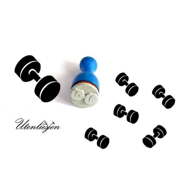 Stempel Hantel, Gewichte, mini, Ø 12 mm, Ministempel Bullet Journal Bild 1