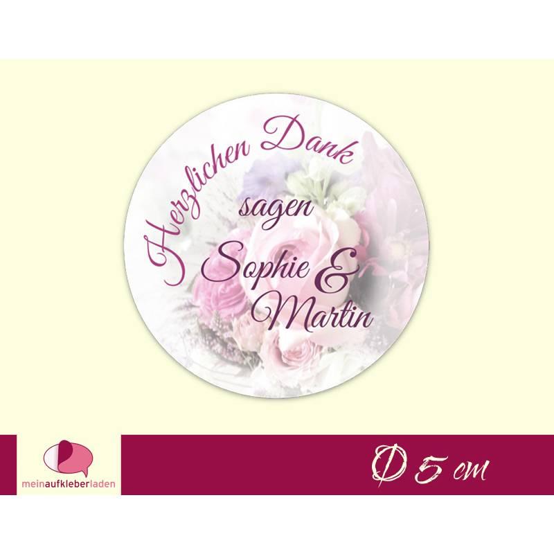 Hochzeitsaufkleber | Blumenstrauß - Herzlichen Dank - rosa Bild 1