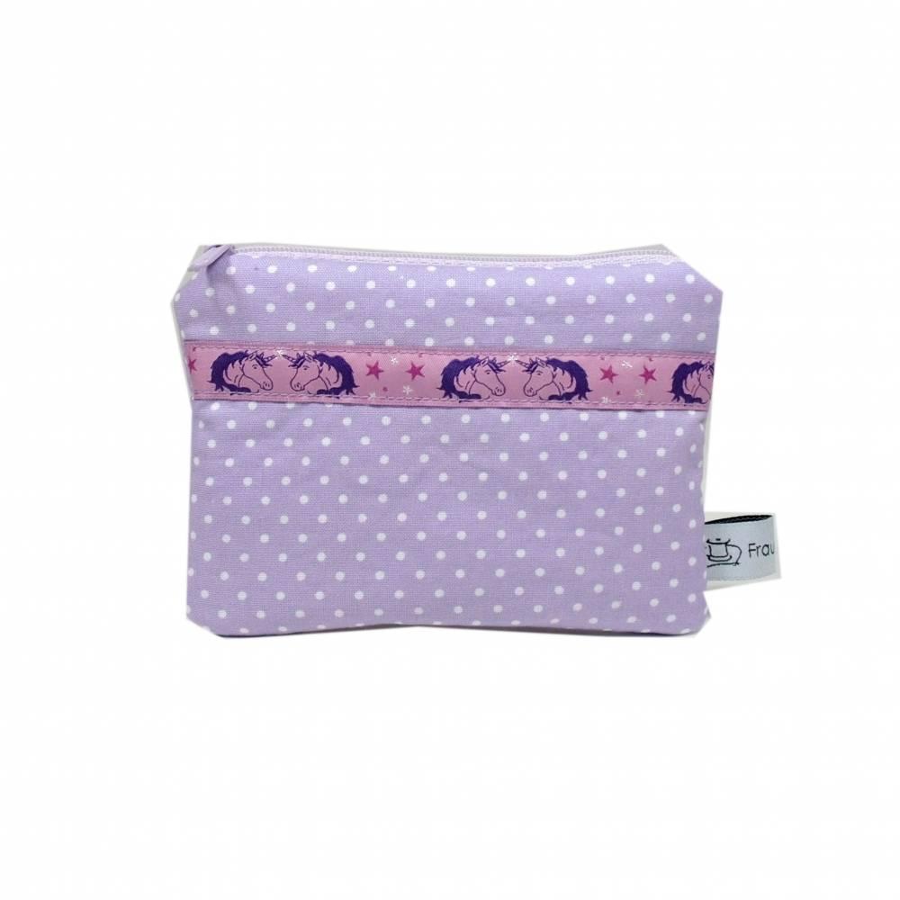 Täschchen Mäppchen Etui Geldbörse Einhorn lila violett Punkte weiß Bild 1