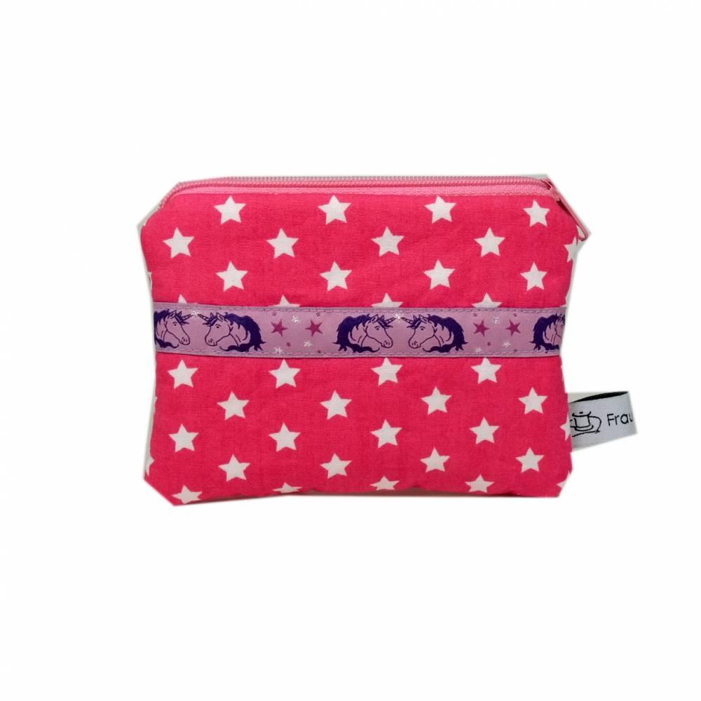 Mäppchen Täschchen Etui Geldbörse Einhorn pink lila Sterne weiß handmade Bild 1