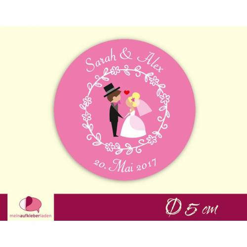 Hochzeitsaufkleber | Brautpaar Herzchen - pink
