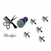 Stempel Kamm, Schere, Frisör, mini, Ø 12 mm, Ministempel Bullet Journal Bild 1