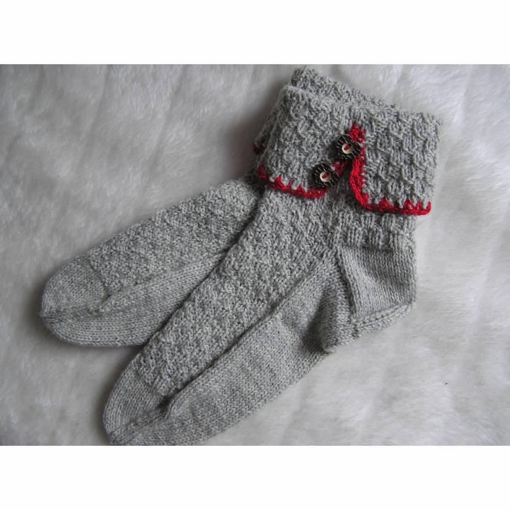 Socken - Gr. 42 - reine Handarbeit -Trachtensocken Bild 1