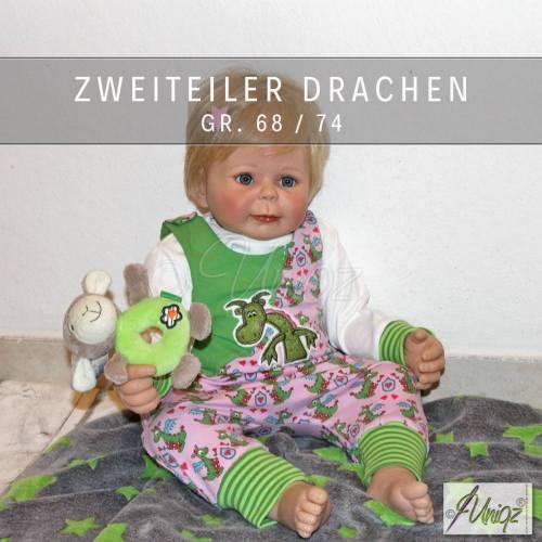 Baby-Set - 2-teilig - Strampler- T-Shirt - Drachen - rosa - grün - Prinzessin - Gr. 68/74