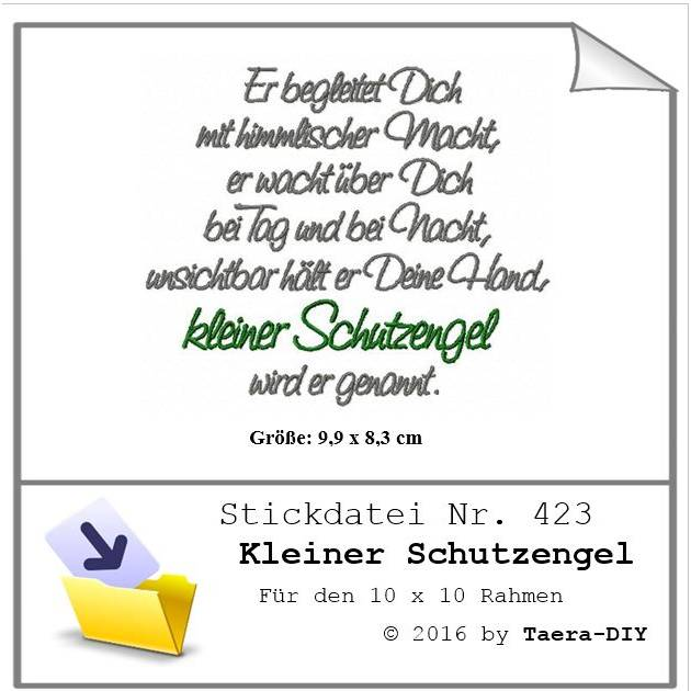 Stickdatei Spruch Kleiner Schutzengel Nr. 423 Bild 1