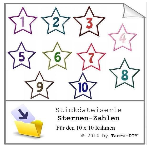 Stickdate Sserie Sternen Zahlen Applikation Bild 1