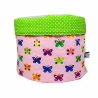 Stoffkörbchen Utensilo Schmetterling Schmetterlinge Punkt rosa grün weiß Punkte handmade Bild 1