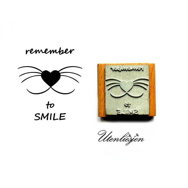 Stempel Remember to smile, Katzengesicht, 3 cm Bild 1