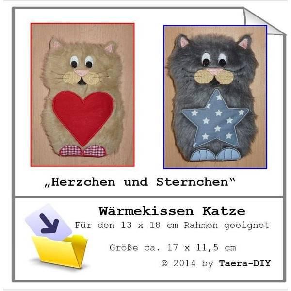 ITH  In the Hoop Wärmekissen/Körnerkissen Katze für 13 x 18 cm Rahmen Bild 1