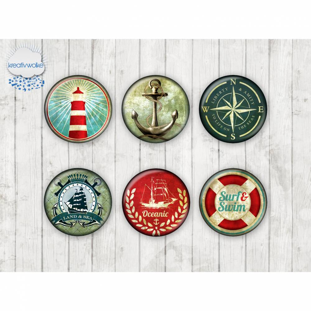 012 - Motivcabochon Set, Glascabochons Handmade Fotocabochon, Cabochon maritim Anker Boot Bild 1
