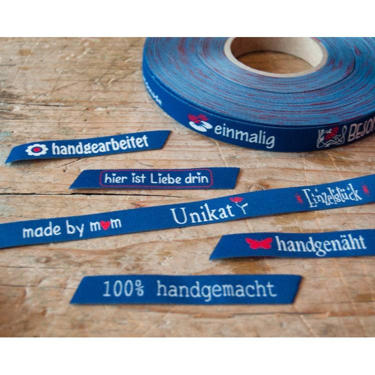"""1m (1,70EUR/m) Unikat Webband blau """"handgemacht"""" Bild 1"""