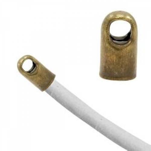 Endkappen Metall mit Öse für Band mit Ø3.2mm antik bronze