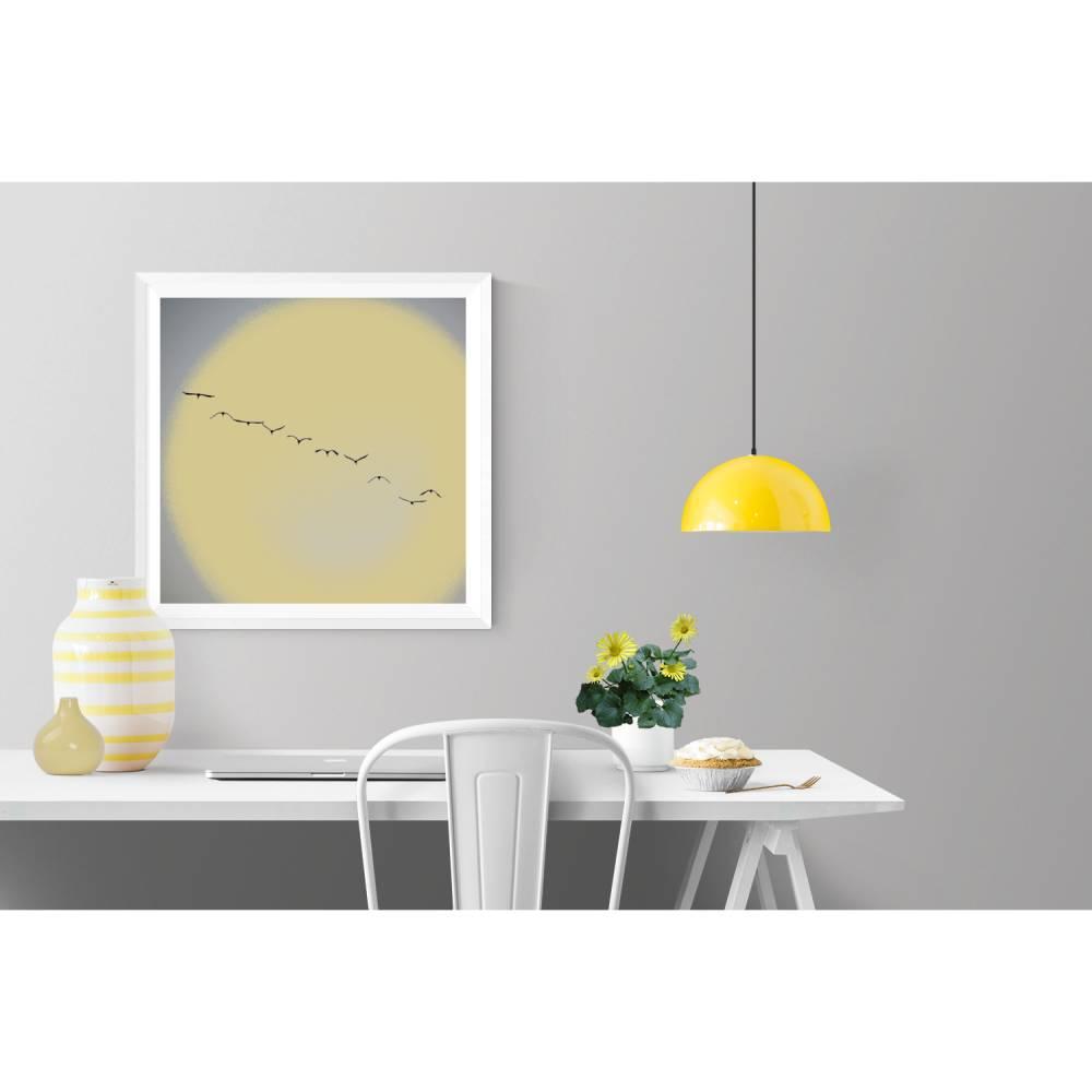 """Illustration """"Flug in den Sommer"""" // Kraniche Vögel Sonne // Grau Gelb // Geschenke für Sie // Geschenke für Ihn // 3 Größen Bild 1"""