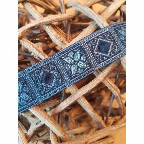 Jacquardborte Antik blau