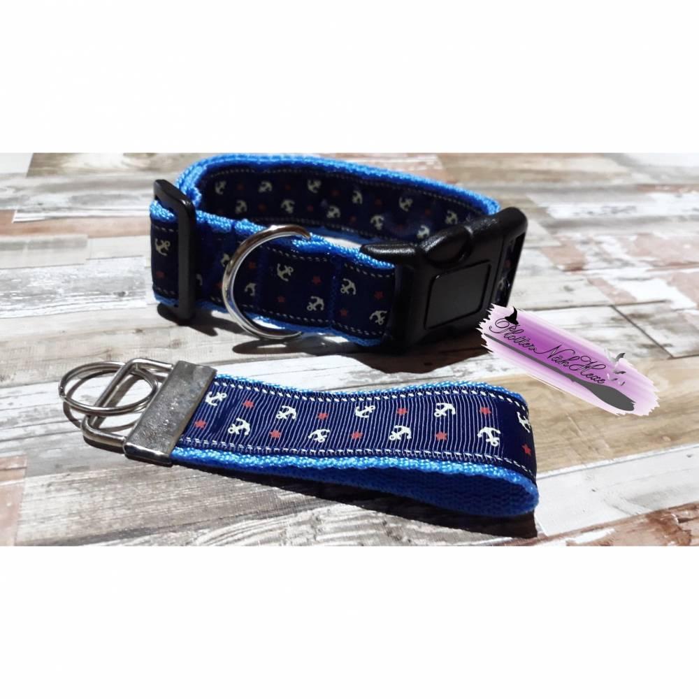 Hundehalsband mit Schlüsselanhänger blau , maritimes Muster Bild 1
