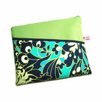 """Tablet Notebook Laptop Tasche Fleur grün blau türkis, nach Maß bis max. 15,9"""" herstellbar"""