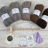 Handspindel-Set mit naturfarbiger Wolle, Anfänger-Set zum Spinnen, Anfängerspindel mit Wolle, Mini-Kammzüge mit Handspindel Bild 1