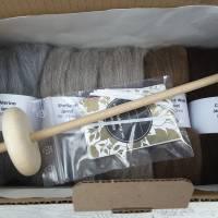 Handspindel-Set mit naturfarbiger Wolle, Anfänger-Set zum Spinnen, Anfängerspindel mit Wolle, Mini-Kammzüge mit Handspindel Bild 6