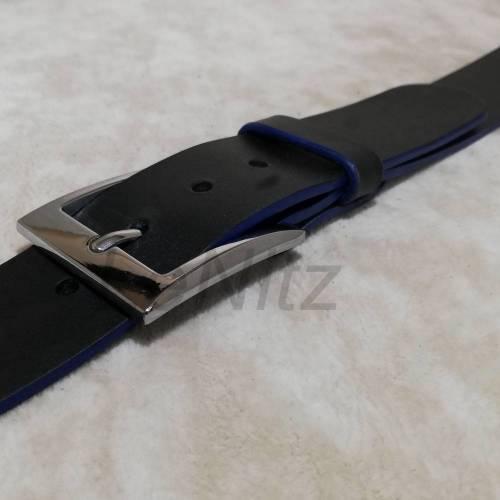 Ledergürtel mit Blauer Kante