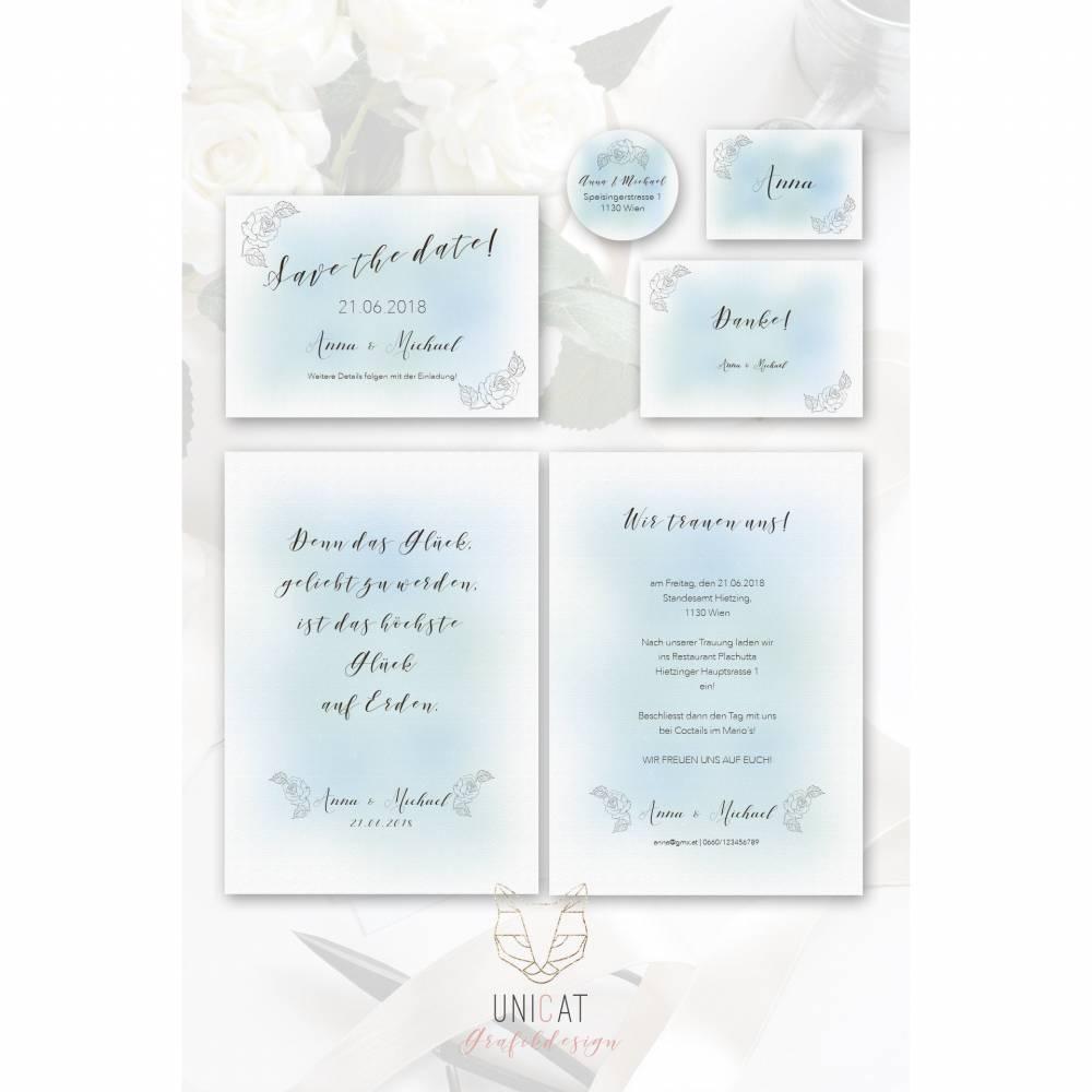 Hochzeits-Set mit Aquarell-Hintergrund, Papierstruktur und Rosenmotiv, digital, editierbar, 6teilig Bild 1