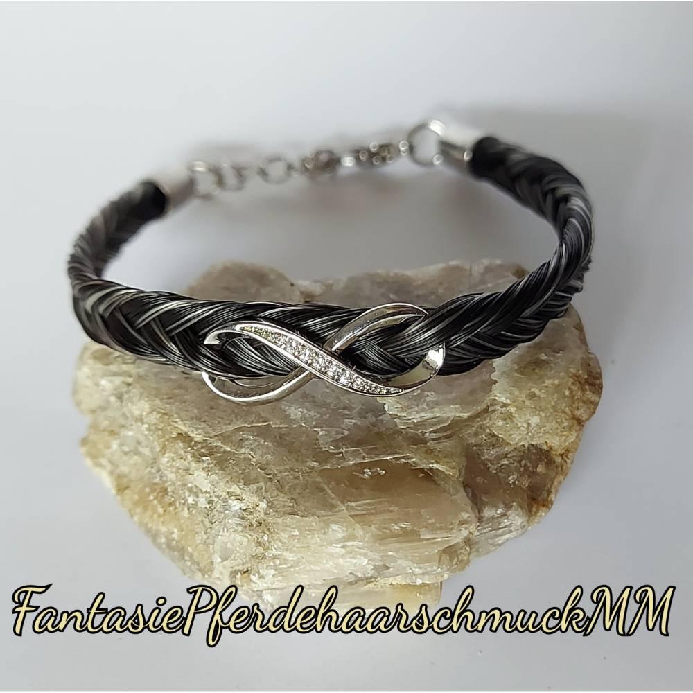 Pferdehaararmband fischgrätenzopf 925er Silber Infinty mit Zirkoniasteinen  Bild 1