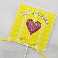 Kindergeburtstag Geburtstag Herz-Lolli-Einladung gelbe Herzen Bild 1