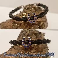 Pferdehaararmband rundgeflochten mit Hufeisen Bead  Bild 1