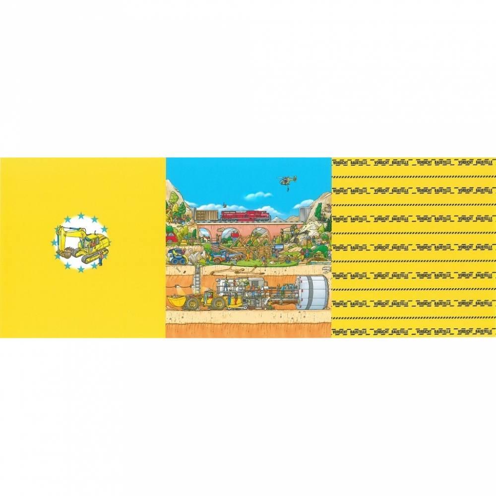17,40EUR/m Jersey Panel Vorsicht Baustelle Wimmelbuch Bild 1