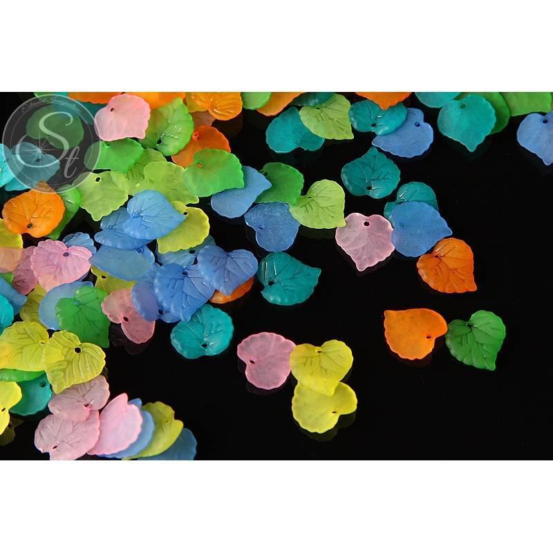 "20 Stk. Acryl-Blätter Mix ""bunte Vielfalt"" frosted 16mm Bild 1"