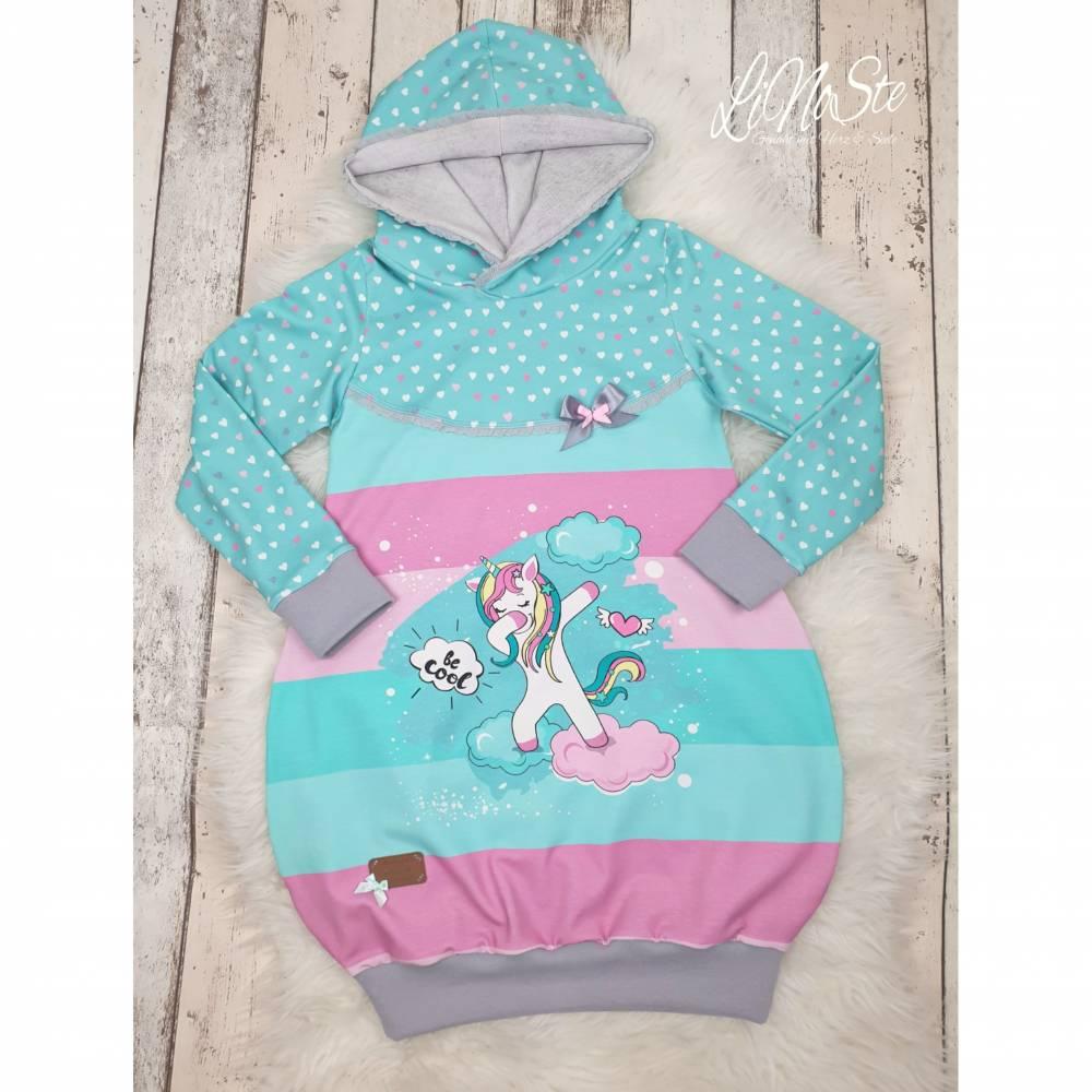 Ballon Tunika ❀ Hoodie ❀ Kapuzen Pullover *Cool Unicorn* Gr 116/122  ❀ Handmade Bild 1
