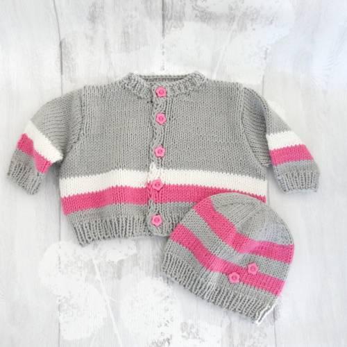 Babyjacke mit Mütze im Set 0 bis 6 Monate Rosa/Grau/Weiß