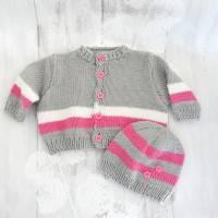 Babyjacke mit Mütze im Set 0 bis 6 Monate Rosa/Grau/Weiß Bild 1