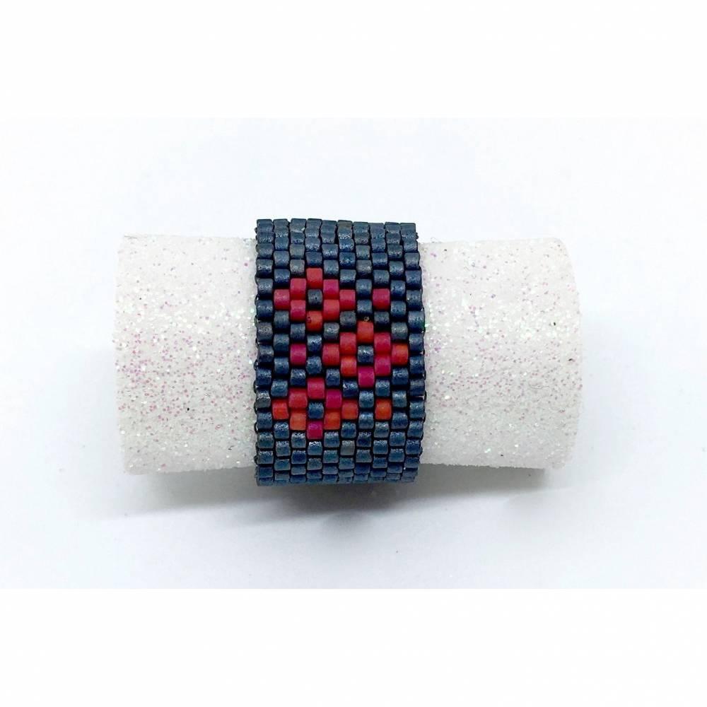 Ring Peyote metallic-blau - rot- handgefädelt - individualisierbar Bild 1