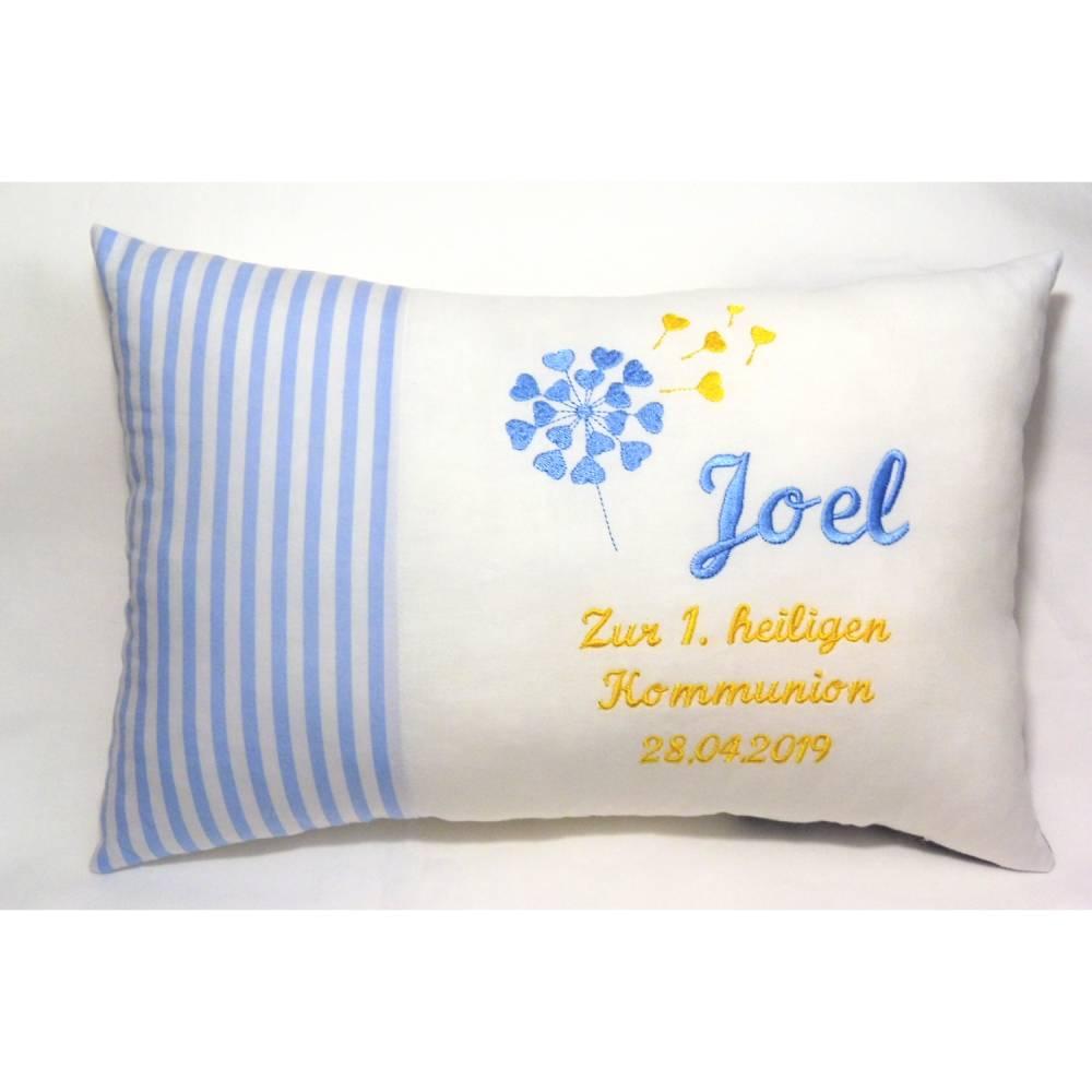 personalisiertes Namenskissen Geschenk zur Kommunion Konfirmation Geburt Taufe in blau weiß gelb für Mädchen und Jungen  Bild 1