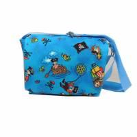 Kindergartentasche Tasche Kindertasche Piraten blau kariert Karo Seeräuber handmade Bild 1