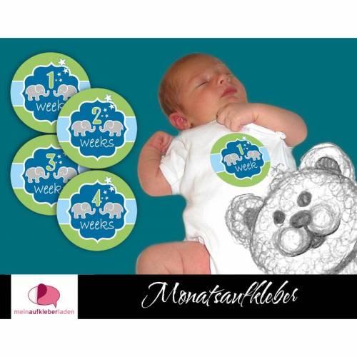 4 Baby Meilensteinaufkleber   Baby 1 - 4 Wochen - Elefanten blau grün