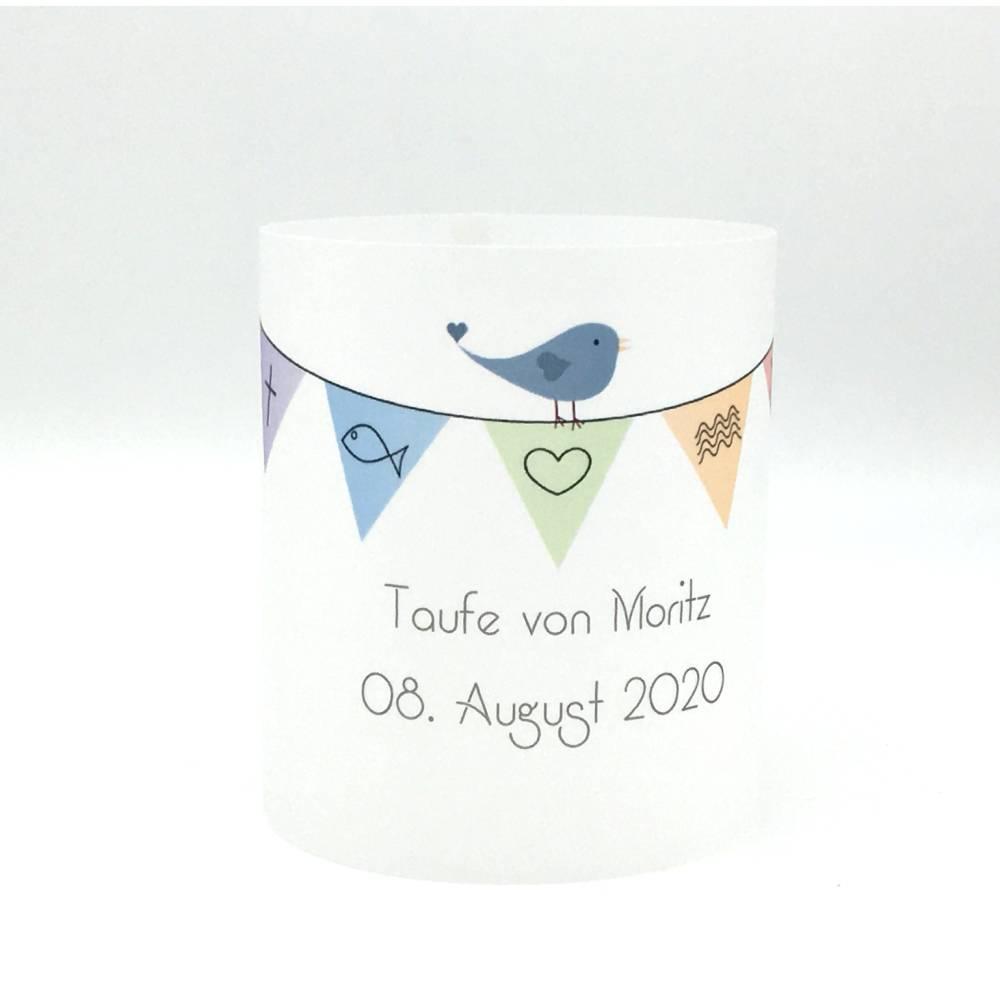 Windlicht Tauflicht bunte Wimpelkette Junge personalisiert mit Name und Taufdatum Bild 1