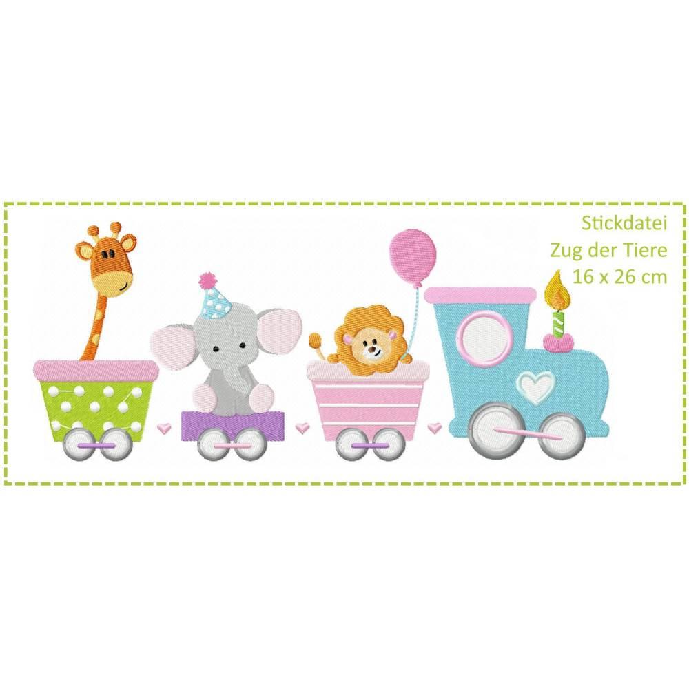 Zug der Tiere 16x26 Stickdatei - Giraffe - Elefant - Löwe Bild 1