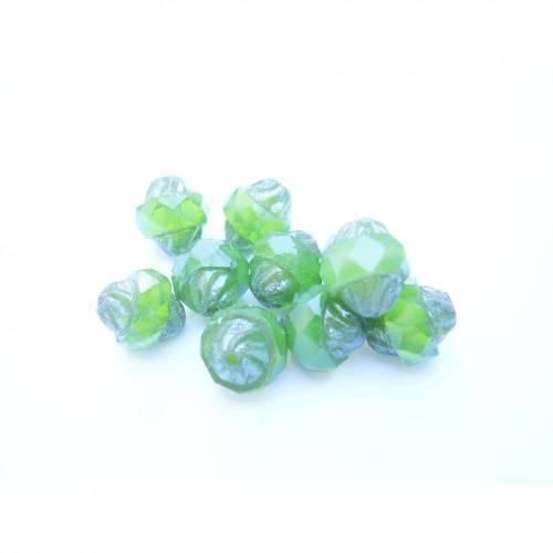 Glasschliffperlen Turbine 11 x 10 mm - grün opal