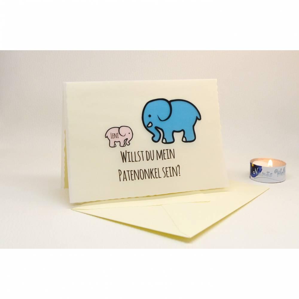 Elefant Karte Patenfrage Patenonkel Patentante  Bild 1
