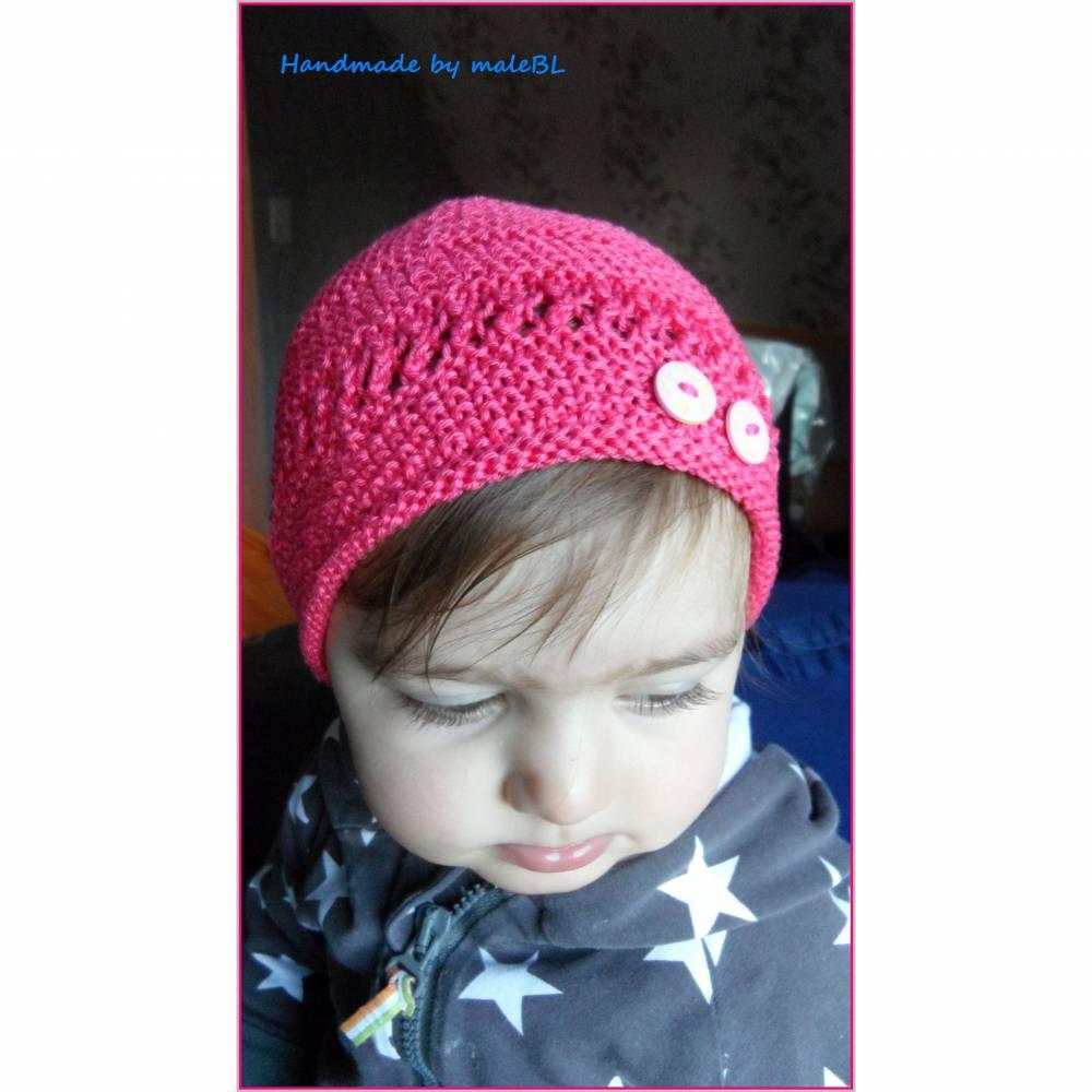 Babymütze, Sommer-Mütze aus Baumwolle, Farbe: Himbeer.  Bild 1