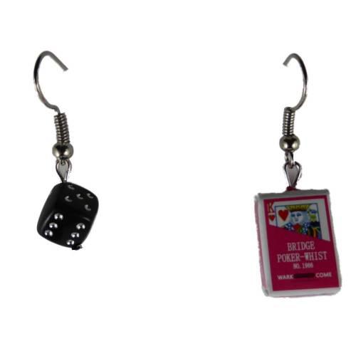 Ohrringe Ohrhänger Hänger Karte Kartenspiel Joker und Schachtel Verpackung und Würfel leicht am Ohr 8393