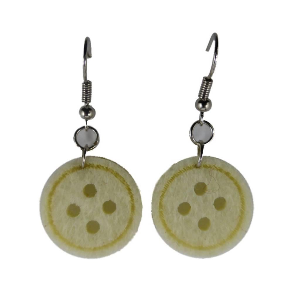 Handgemachte Ohrringe weiß / beige Knöpfe Knopf Handarbeit Hobby nähen Filz 8511 Bild 1