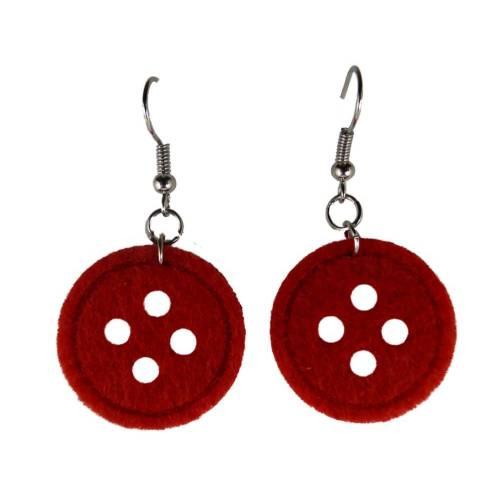 Handgemachte Ohrringe rot Knöpfe Knopf Handarbeit Hobby nähen Filz rot 8510