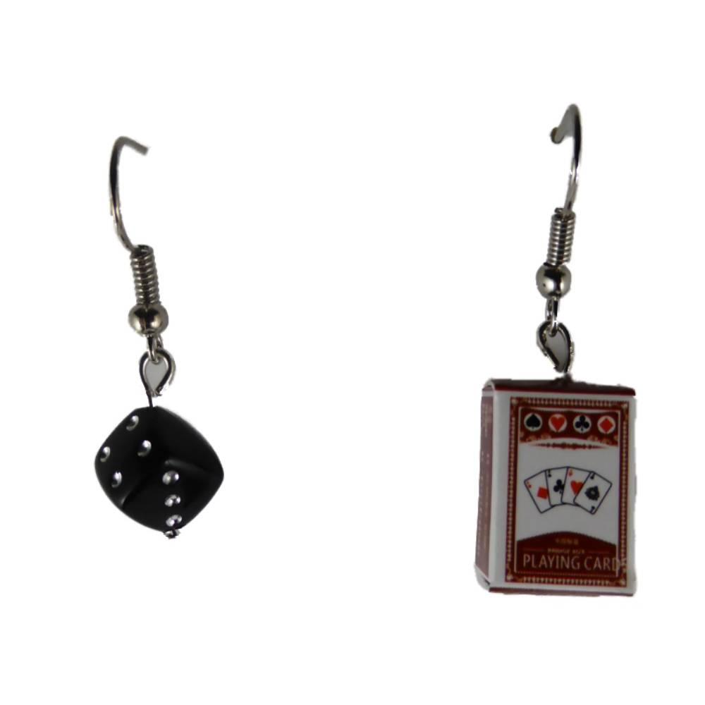 Ohrringe Ohrhänger Hänger Karte Kartenspiel Joker und Schachtel Verpackung und Würfel leicht am Ohr 8391 Bild 1