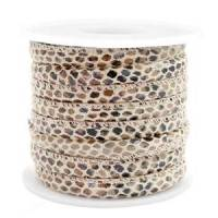 Kunstleder Band  gesteppt 6 x 4 mm in Snake Light brown Bild 1