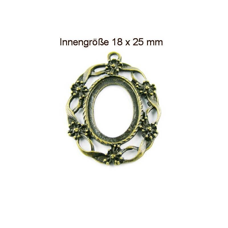 Anhänger Fassung für Cabochon 25x18 mm bronzefarben  Bild 1