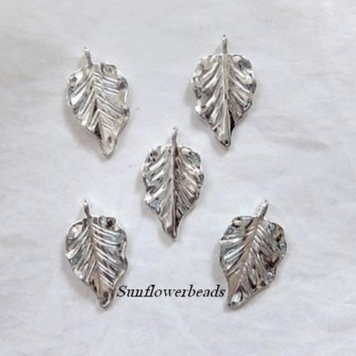 Metallanhänger, Blatt, silber glänzend Bild 1